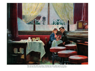 """The Unsuspected  - Saturday Evening Post """"Leading Ladies"""", August 11, 1945 pg.11 Giclee Print by Austin Briggs"""