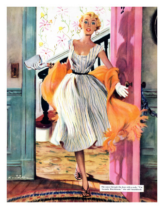 """The Lady's Future - Saturday Evening Post """"Leading Ladies"""", February 6, 1954 pg.34 Giclee Print by Ernest Chiriaka"""