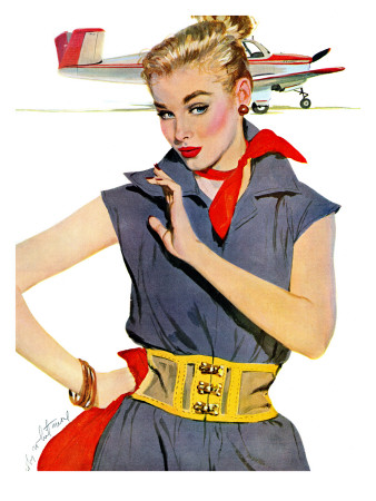 """The Girl Who Stole Airplanes  - Saturday Evening Post """"Leading Ladies"""", December 6, 1952 pg.24 Giclee Print by Coby Whitmore"""