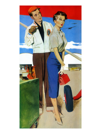 "The Flying Wife - Saturday Evening Post ""Men at the Top"", August 16, 1958 pg.31 Giclee Print by Fritz Willis"