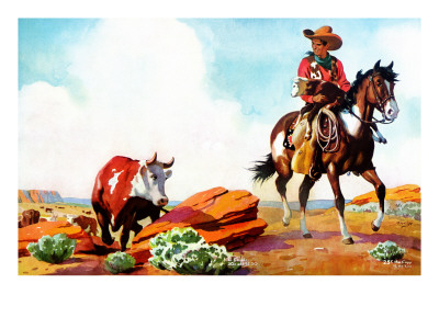 Out on the Range - Jack and Jill, March 1942 Giclee Print by Manning de V. Lee