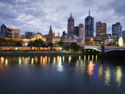 Australia, Victoria, Melbourne; Yarra River and City Skyline by Night Photographic Print