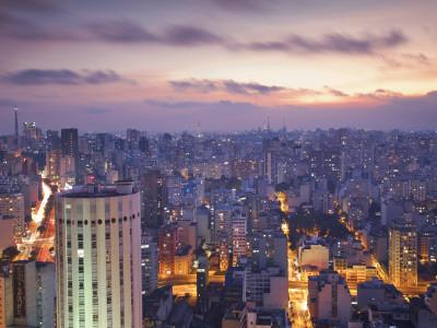 Brazil, Sao Paulo, Sao Paulo, View of City Center from Italia Building - Edificio Italia Photographic Print by Jane Sweeney