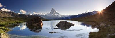 Switzerland, Valais, Zermatt, Lake Stelli and Matterhorn (Cervin) Peak Photographic Print by Michele Falzone