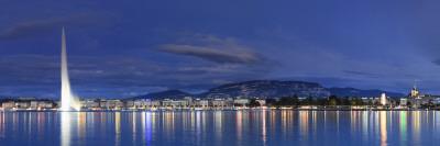 Switzerland, Geneva, Lake Geneva / Lac Leman and Jet D'Eau Fountain Photographic Print by Michele Falzone