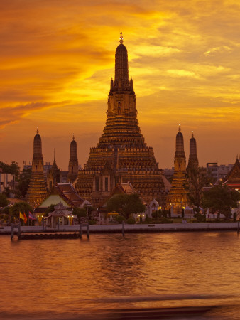 Thailand, Bangkok, Wat Arun ,Temple of the Dawn and Chao Phraya River Illuminated at Sunset Photographic Print