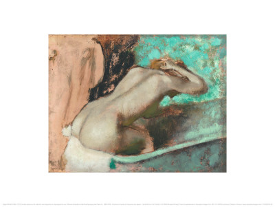 Woman Seated on a Bathtub Poster by Edgar Degas