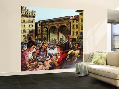 """""""Writing Postcards Home,"""" June 30, 1962 Wall Mural – Large by Constantin Alajalov"""
