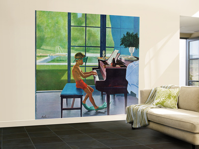 """""""Poolside Piano Practice,"""" June 11, 1960 Wall Mural – Large by George Hughes"""