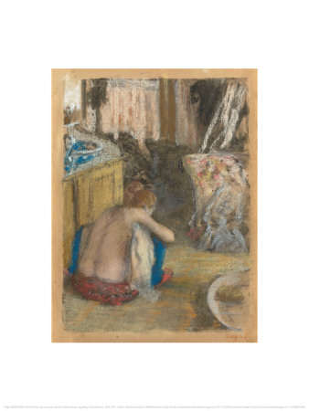 Nude Woman, Squatting, From Behind Print by Edgar Degas