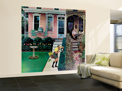 """Tidy and Sloppy Neighbors,"" July 1, 1961 Wall Mural – Large by John Falter"