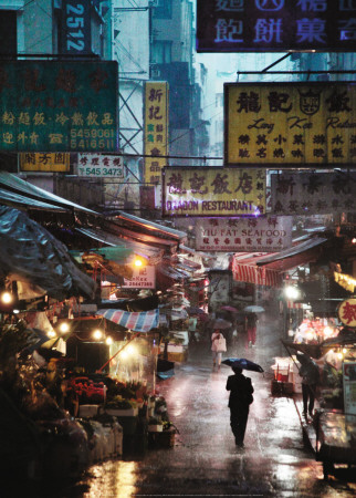 Market under the Rain, Honk Kong, c.2009 Reproduction d'art