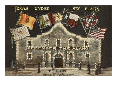 Texas under Six Flags, Alamo, San Antonio, Texas Poster