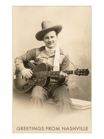 Greetings from Nashville, Singing Cowboy with Guitar Poster