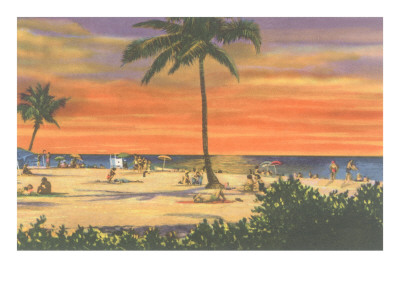 Sunset on a Tropical Beach Posters