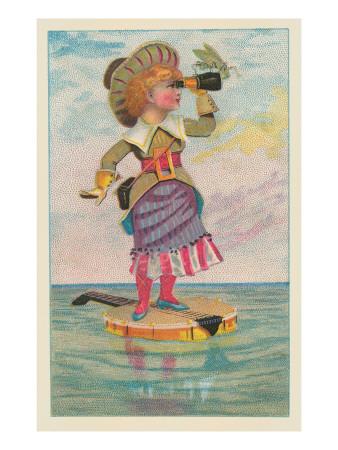 Girl with Binoculars on Floating Banjo Art