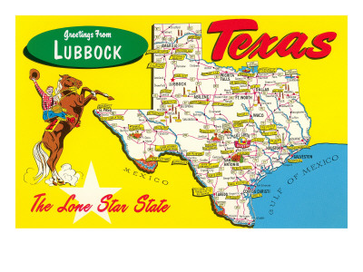 Greetings from Lubbock, Texas, Map Posters