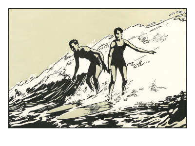 Woodcut of Two Surfers Prints
