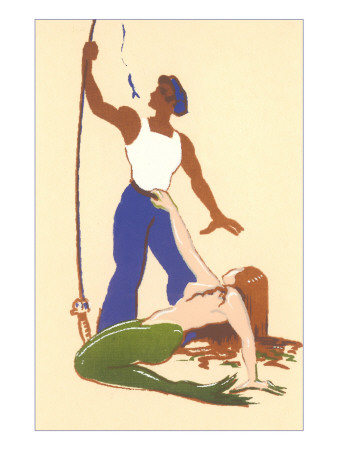 Mermaid with Fisherman Poster