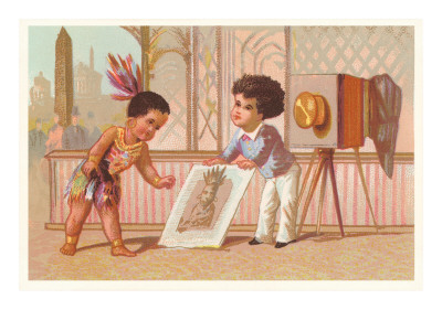 Children with Photograph of Indian Premium Poster