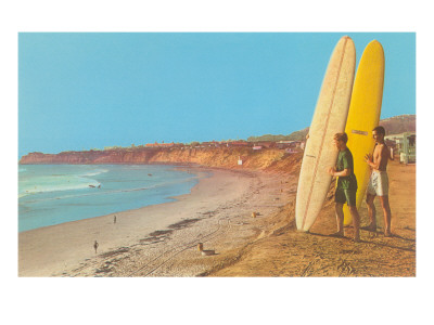 Surfers Checking Out Waves Poster