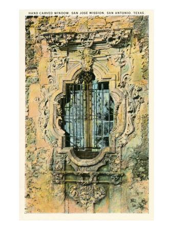 Window, San Jose Mission, San Antonio, Texas Print