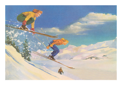 Two Women on Skis Leaping over the Snow Prints