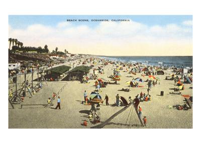 Beach Scene, Oceanside, California Poster