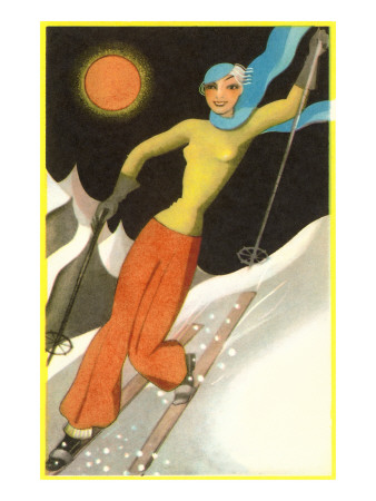 Confident Lady Skier Art