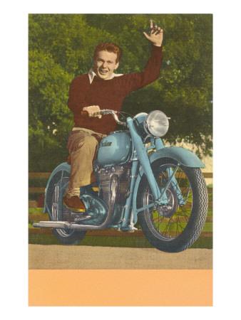 Man on Motorcycle, Waving Prints
