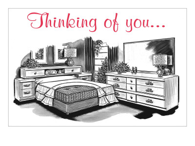 Retroline Bedroom Furnishings, 'Thinking of You' Premium Poster