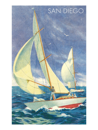 Sailor participating in a sailing race San Diego seascape art print