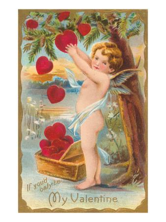 My Valentine, Cupid Picking Hearts Art