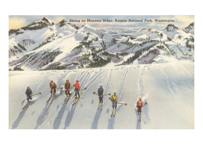 Skiing on Mazama Ridge, Rainier National Park, Washington Art