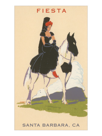 Fiesta, Spanish Lady on Horse, Santa Barbara, California Poster