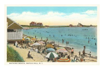 Beach Scene, Watch Hill, Rhode Island Prints