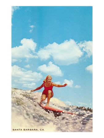 Girl Surfing, Santa Barbara, California Posters