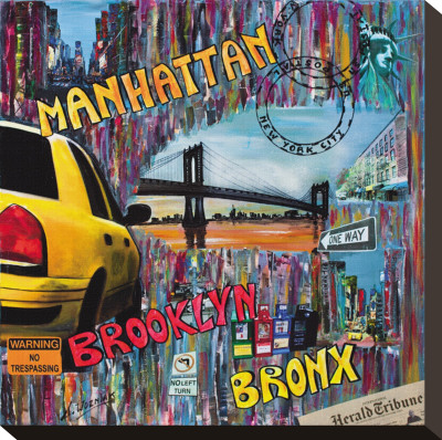 Manhattan Brooklyn Stretched Canvas Print