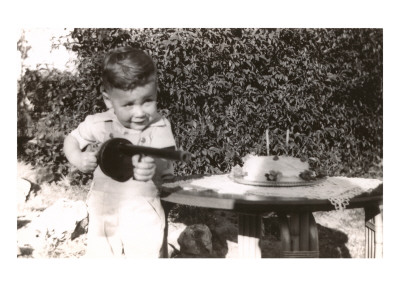 Little Boy with Toy Machine Gun and Cake Prints