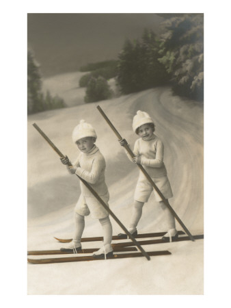 Two Children on Skis with Barge Poles Poster