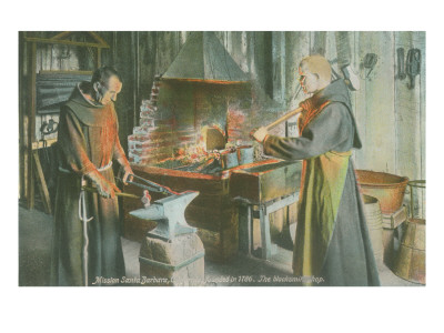 Monks in Blacksmith Shop, Santa Barbara Mission, California Prints
