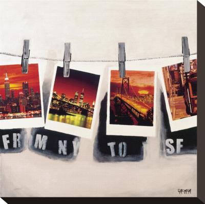 From NY To SF Bedruckte aufgespannte Leinwand von Vincent Gachaga