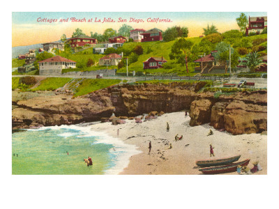 Cottages and cove on the La Jolla Beach shoreline San Diego art print
