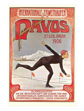 Swiss Speed Skating Poster, Davos Prints