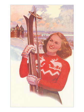 Woman in Alps with Skis Art