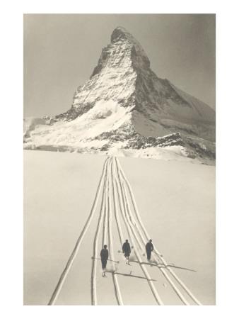 Skiers Leaving Matterhorn Prints