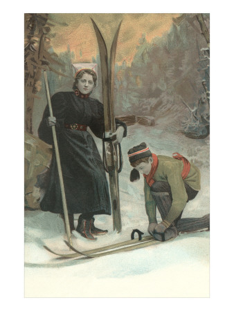 Mother and Son Preparing to Ski Art
