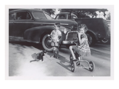 Children with Cat on Leash Prints