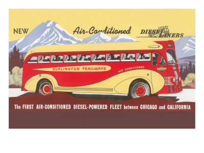 Bus Line, Chicago to California Posters