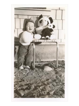 Toddler with Stuffed Panda Prints